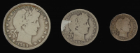 Lot of (3) Barber Silver Coins with 1909 Half-Dollar, 1906-D Quarter Dollar, & 1907 Dime at PristineAuction.com