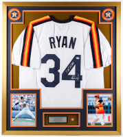 "Nolan Ryan Signed 32x36 Custom Framed Jersey Inscribed ""7 No Hitters"" with Hall of Fame Pin (PSA COA) at PristineAuction.com"