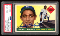 Sandy Koufax Signed 1955 Topps #123 RC (PSA Encapsulated - Autograph Grade 10) at PristineAuction.com