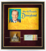 "Walt Disney's ""Disneyland"" 15.5x17 Custom Framed 1962 Souvenir Guide Shadow Box Display with Vintage Ticket Book & Ceramic ""Sleeping Beauty"" Castle at PristineAuction.com"