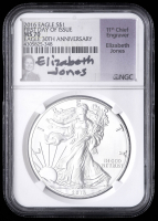 2016 American Silver Eagle $1 One-Dollar Coin - First Day of Issue, 30th Anniversary (NGC MS70) (Elizabeth Jones Signed Label) at PristineAuction.com