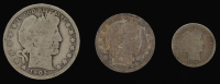 Lot of (3) Barber Silver Coins with 1905-O Half-Dollar, 1910-D Quarter Dollar, & 1916 Dime at PristineAuction.com
