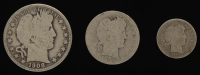 Lot of (3) Barber Silver Coins with 1908-O Half-Dollar, 1902 Quarter Dollar, & 1914-D Dime at PristineAuction.com