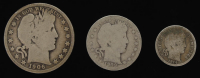 Lot of (3) Barber Silver Coins with 1906 Half-Dollar, 1909-D Quarter Dollar, & 1914 Dime at PristineAuction.com