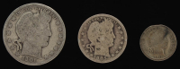Lot of (3) Barber Silver Coins with 1901 Half-Dollar, 1905 Quarter Dollar, & 1911 Dime at PristineAuction.com