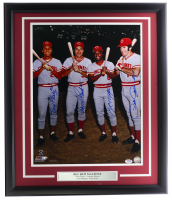Big Red Machine 16x20 Custom Framed Photo Display Signed By (4) With Pete Rose, Joe Morgan, Johnny Bench, and Tony Perez (PSA Hologram) at PristineAuction.com