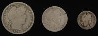 Lot of (3) Barber Silver Coins with 1906 Half-Dollar, 1909 Quarter Dollar, & 1905 Dime at PristineAuction.com