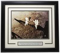 "Neil Armstrong & Edwin Aldrin ""U.S. Flag on Moon"" 16x19 Custom Framed Photo at PristineAuction.com"
