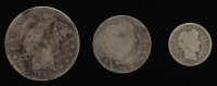 Lot of (3) Barber Silver Coins with 1907 Half-Dollar, 1898 Quarter Dollar, & 1906 Dime at PristineAuction.com