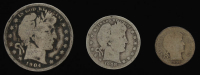 Lot of (3) Barber Silver Coins with 1904 Half-Dollar, 1908 Quarter Dollar, & 1908-S Dime at PristineAuction.com