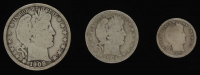 Lot of (3) Barber Silver Coins with 1908 Half-Dollar, 1904 Quarter Dollar, & 1909 Dime at PristineAuction.com