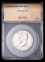 1993-D 50¢ Kennedy Silver Half Dollar (ANACS MS66) at PristineAuction.com