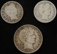 Lot of (3) Barber Quarters & Half Dollar Coins at PristineAuction.com