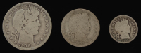 Lot of (3) Barber Silver Coins with 1908-S Half-Dollar, 1909-S Quarter Dollar, & 1916 Dime at PristineAuction.com