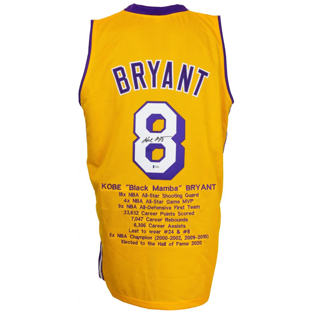 Kobe Bryant Signed Career Highlight Stat Jersey (Beckett LOA ...