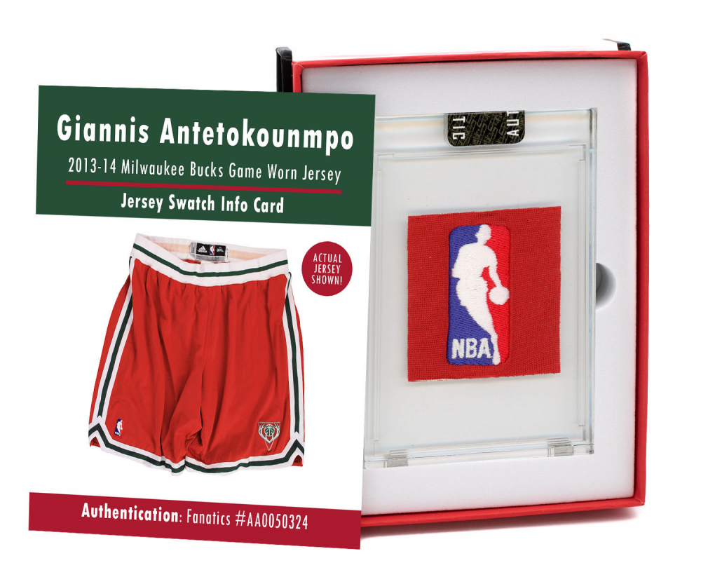 GIANNIS ANTETOKOUNMPO 2013-14 BUCKS GAME WORN SHORTS MYSTERY SWATCH BOX! at PristineAuction.com