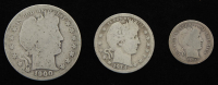 Lot of (3) Barber Silver Coins with 1900-S Half-Dollar, 1914-D Quarter Dollar, & 1914-S Dime at PristineAuction.com