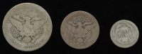 Lot of (3) Barber Silver Coins with 1907-O Half-Dollar, 1910 Quarter Dollar, & 1903 Dime at PristineAuction.com