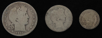 Lot of (3) Barber Silver Coins with 1904 Half-Dollar, 1896-D Quarter Dollar, & 1916 Dime at PristineAuction.com