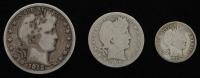 Lot of (3) Barber Silver Coins with 1912 Half-Dollar, 1908-D Quarter Dollar, & 1910 Dime at PristineAuction.com