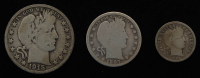 Lot of (3) Barber Silver Coins with 1915-S Half-Dollar, 1897 Quarter Dollar, & 1906-D Dime at PristineAuction.com