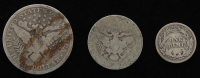 Lot of (3) Barber Silver Coins with 1907 Half-Dollar, 1903 Quarter Dollar, & 1902 Dime at PristineAuction.com