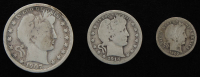Lot of (3) Barber Silver Coins with 1907 Half-Dollar, 1914-D Quarter Dollar, & 1902 Dime at PristineAuction.com