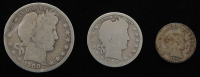 Lot of (3) Barber Silver Coins with 1908-S Half-Dollar, 1900 Quarter Dollar, & 1912 Dime at PristineAuction.com