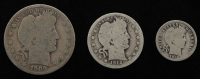 Lot of (3) Barber Silver Coins with 1909-S Half-Dollar, 1912 Quarter Dollar, & 1912-D Dime at PristineAuction.com