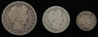 Lot of (3) Barber Silver Coins with 1907 Half-Dollar, 1909-D Quarter Dollar, & 1910 Dime at PristineAuction.com