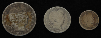 Lot of (3) Barber Silver Coins with 1899 Half-Dollar, 1908-D Quarter Dollar, & 1909 Dime at PristineAuction.com