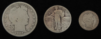 Lot of (3) Silver Coins with 1907-S Barber Half-Dollar, 1927 Standing Liberty Quarter Dollar, & 1904 Barber Dime at PristineAuction.com