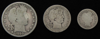 Lot of (3) Barber Silver Coins with 1900-S Half-Dollar, 1916 Quarter Dollar, & 1898 Dime at PristineAuction.com