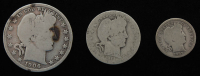 Lot of (3) Barber Silver Coins with 1906-D Half-Dollar, 1911 Quarter Dollar, & 1907 Dime at PristineAuction.com
