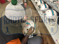 """Ricky Williams Signed Dolphins Full-Size Authentic On-Field Matte White Speed Helmet Inscribed """"Split Blunts, Not Carries"""" (Radtke COA) at PristineAuction.com"""