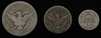 Lot of (3) Barber Silver Coins with 1912-S Half-Dollar, 1908 Quarter Dollar, & 1913 Dime at PristineAuction.com