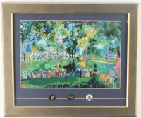 "LeRoy Neiman ""Oakmont Country Club"" 16x18.5 Custom Framed Print Display with (3) Vintage Oakmont U.S. Open Pins at PristineAuction.com"