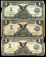 """Lot of (3) 1899 $1 One-Dollar """"Black Eagle"""" U.S. Silver Certificate Large-Size Bank Notes at PristineAuction.com"""