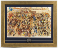 "LeRoy Neiman ""The New York Stock Exchange"" 18.75x22.75 Custom Framed Print Display with Metal Coin at PristineAuction.com"