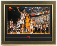 Michael Jordan Team USA 16.75x20.75 Custom Framed Bart Forbes Art Print Display with Vintage USA Basketball Pin at PristineAuction.com