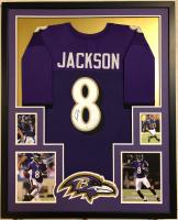 Lamar Jackson Signed 34x42 Custom Framed Jersey (JSA COA) at PristineAuction.com