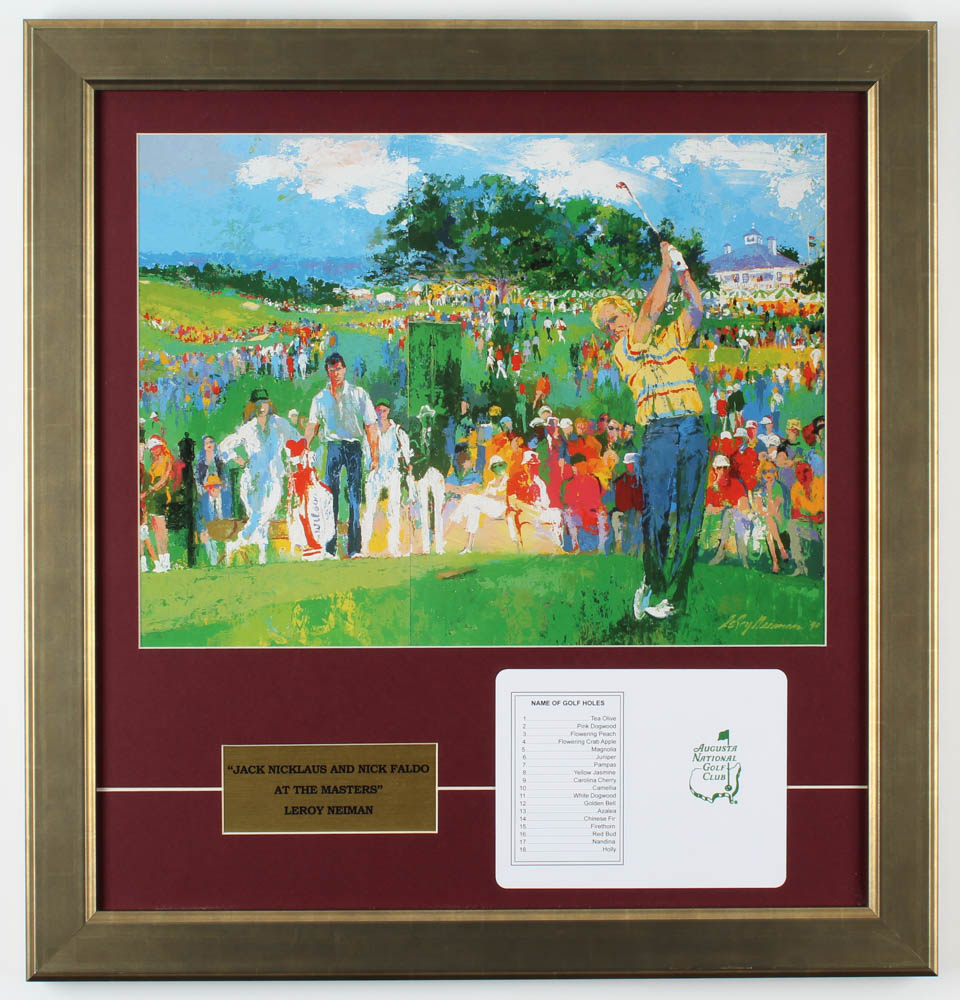 "LeRoy Neiman ""Jack Nicklaus & Nick Faldo at Augusta"" 19.5x20.5 Custom Framed Print Display with Official Augusta National Score Card at PristineAuction.com"