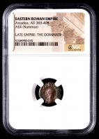 Arcadius - AD 383-408 -AE4 (Nummus) - Eastern Roman Empire Bronze Coin (NGC Encapsulated) at PristineAuction.com