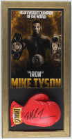 Mike Tyson Signed 14.5x28.5 Custom Framed Boxing Glove Display (PSA COA) at PristineAuction.com
