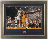 Michael Jordan Team USA 17x22 Custom Framed Bart Forbes Art Print Display with Vintage USA Basketball Pin at PristineAuction.com
