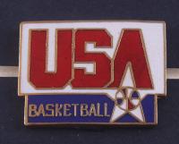 Michael Jordan Team USA 17x22 Custom Framed Bart Forbes Art Print Display with Vintage USA Basketball Pin at PristineAuction.com