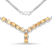Yellow Sapphire and Diamond .925 Sterling Silver Necklace at PristineAuction.com