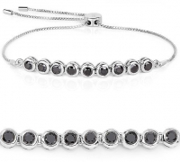 Black Diamond .925 Sterling Silver Bracelet at PristineAuction.com