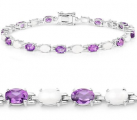 Amethyst and Opal .925 Sterling Silver Bracelet at PristineAuction.com