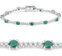 Emerald and Zircon .925 Sterling Silver Bracelet at PristineAuction.com